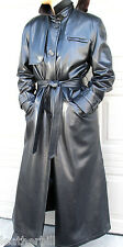 STUNNING LONG BLACK PVC LEATHER TRENCH COAT-   VINYL RUBBERY APROPOS