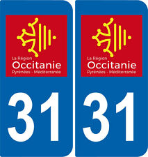 2 Stickers autocollant plaque immatriculation Auto 31 Occitanie - LogoType