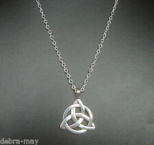 Celtic Triquetra Trinity Knot Pendant Silver Plated Long Chain Necklace - 24""