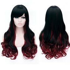 Black Red Cosplay Harajuku Ombre Long Curly Wavy Hair Side Bangs Halloween Wig