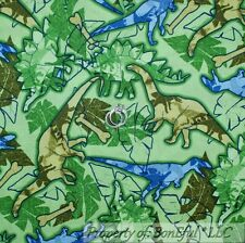 BonEful Fabric FQ Cotton Quilt Green Leaf Blue Boy Camo Dino Dinosaur Camouflage