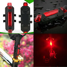5LED Portable USB Rechargeable Bike Bicycle Tail Rear Safety Warning Light LampG