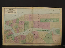 New York Long Island Map 1873 New York & Brooklyn, Double Page N3#99