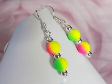 8mm Fluo Neon Yellow Pink Green Rubber Beads Silver Plated Hook Dangle Earrings