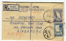 FEDERATION OF MALAYA - Registered Letter 6705, Malacca to Singapore March 1964