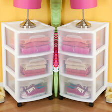 Rolling Storage Cart 3 Drawer Organizer Bin Plastic Cabinet Box Container Set 2