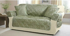 3 SEATER WILLOW GREEN FURNITURE QUILTED SOFA COVER PROTECTOR JACQUARD SETTEE
