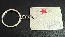 F/S NEW HTF HEINEKEN BEER TAG LABEL KEY CHAIN/RING RED STAR METAL SIGN OLD STOCK