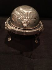 1883 F.B Rogers Silver Co Footed Round Bowl Roll Top Domed Butter Dish 273