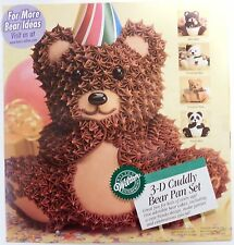 NEW WILTON 3-D Stand-Up Cuddly Bear Cake Baking Pan Set 3 Pc # 502-518 Aluminum