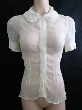 Collette Dinnigan Size S/8 Cream Silk Top Peter Pan Layered Collar *