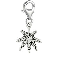 """Maple Leaf"" Clip On Pendant for European Charm Jewelry w/ Lobster Clasp"