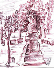 """""""ST. MARY'S CEMETERY"""" by Ruth Freeman INK SKETCH 8"""" X 10 3/4"""""""