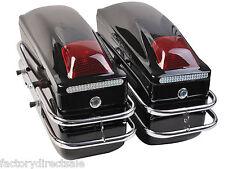 Motorcycle Cruiser Hard Trunk Saddle Bags Trunk Luggage w/ Lights Mounted