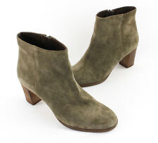 J.Crew Olive Green Suede Stacked Wood Heel Ankle Boot Heel Shoe Size 7