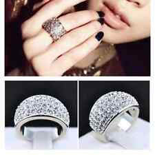 Charm Womens Wide Jewelry Stainless Steel Silver Full Rhinestone Crystal Ring