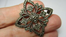 STERLING SILVER 925 VINTAGE ESTATE BUTTERFLY FLORAL MARCASITE PIN BROOCH
