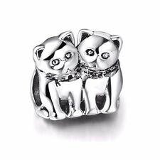 Couple Cats Real Sterling 925 Silver European Fashion Bead Charms Fit Bracelet