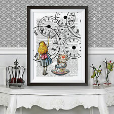 ALICE IN WONDERLAND POSTER catch the clock HOME DECOR LEWIS CARROLL DICTIONARY