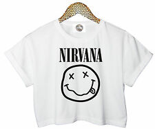 NIRVANA SMILEY CROP TOP BAND T SHIRT TEE HIPSTER RETRO GRUNGE ROCK KURT COBAIN