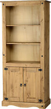 CORONA TALL 2 DOOR DISPLAY UNIT IN DISTRESSED WAX PINE - FREE NEXT DAY DELIVERY