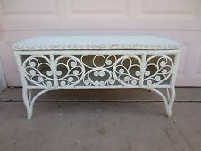 Peacock Wicker Storage Bench Shabby Chic Cottage Chest Trunk Console Table