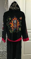 Ed Hardy Men's Skull  Studded Hooded Robe Black/Red Tattoo Graphics NWT S M L