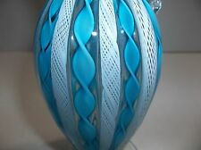 Vintage Murano Art Glass LATTICINO Ribbon PITCHER Blue WHITE 6.5""