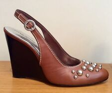 KAREN MILLEN WEDGE SHOES SIZE 39 UK 6 BROWN LEATHER SLINGBACK SILVER STUD