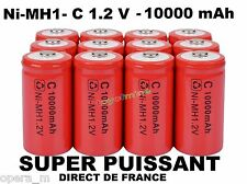 Lot de 2 Piles C R14 LR14 10000mAh Rechargeable 1.2V Ni-Mh Accu DIRECT DE FRANCE