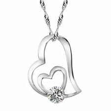 Necklace Women Sterling Silver Pendant Chain Charm Crystal Fashion Valentine's
