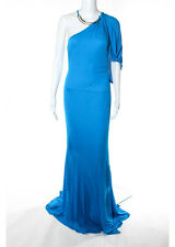 NEW ROBERTO CAVALLI Blue One Shoulder Gown EUR Sz 42 $1960 5598090