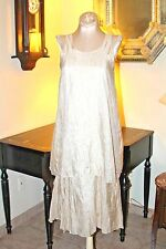 VINTAGE PURE ANTIQUE SEMI SHEEER IVORY SILK ONE PIECE TUNIC DRESS / S