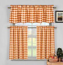 Orange Gingham Checkered Plaid Kitchen Tier Curtain Valance Set Duck River