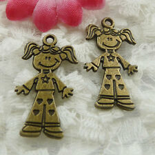Free Ship 150 pieces bronze plated girl charms 28x16mm #677