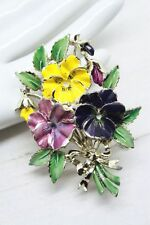 Large Enamel Pansy Flowers Floral 1960s Signed Exquisite Vintage Brooch Pin
