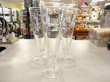 3 RARE Vintage Etched Cut Glass Pilsner Beer Bar Glasses~