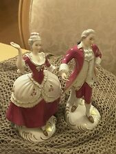 Royal Dux Bohemia dancing figurines raspberry white gold Czech Republic