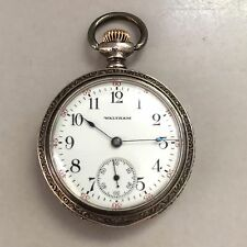 1902 15J Seaside Waltham Pocket Watch - Size 0 - Sterling Silver Runs !