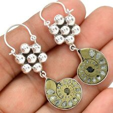 Fossil -  Pyrite Ammonite 925 Sterling Silver Earrings Jewelry SE122503