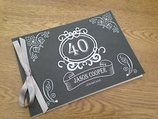 Handmade Personalised Guest Book Wedding Birthday Retirement Male Chalkboard G39