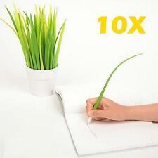 10 FOREST GREEN Grass blade Design Ballpoint Silicon Grass Leaf Pen Black Ink ##