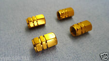 4x Aluminum GOLD Wheel Tyre Tire Valve Stems Air Dust Caps Cover for Car Bike