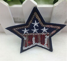 Embroidered Iron On Patch Star USA Logo Blue Red Flag Decor Glitter Craft DIY