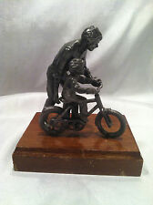 Collectible Father Teaching Son To Ride A Bike Desk Decor Paper Weight Figurine