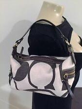 COACH WOMENS SMALL CANVAS AND LEATHER HAND BAG MULTI COLORS