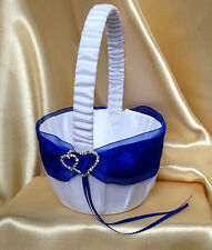 WHITE&ROYAL BLUE &DIAMANTE DOUBLE HEARTS FLOWER GIRL BASKET/19x19cm/7.5''x7.5''/