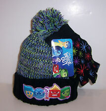 Disney INSIDE OUT Warm Thick KNIT HAT Beanie Cap & GLOVES Glove SET Pom-Pom NEW!