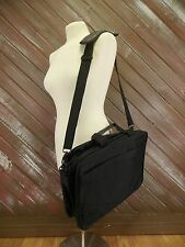 Dell Laptop Computer Briefcase Messenger Shoulder Bag Nylon Black Leather Bottom