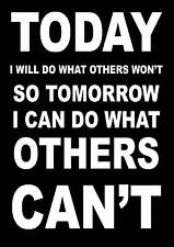 INSPIRATIONAL / MOTIVATIONAL SPORTS QUOTE SIGN POSTER / PRINT TODAY I WILL DO...